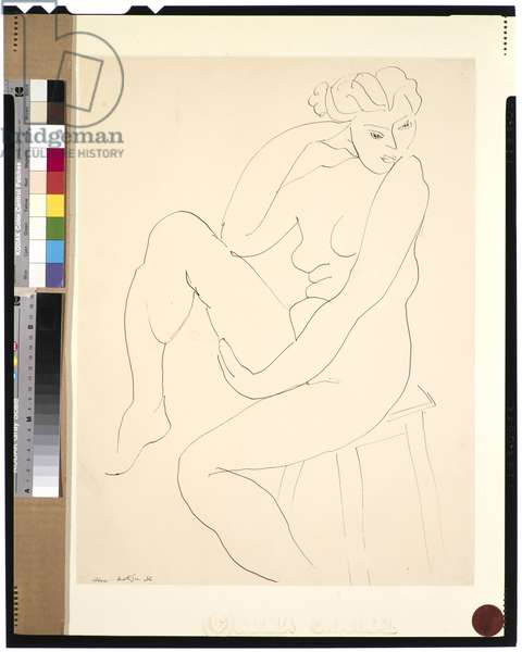Nude Seated on a Stool, 1936 (ink on paper)