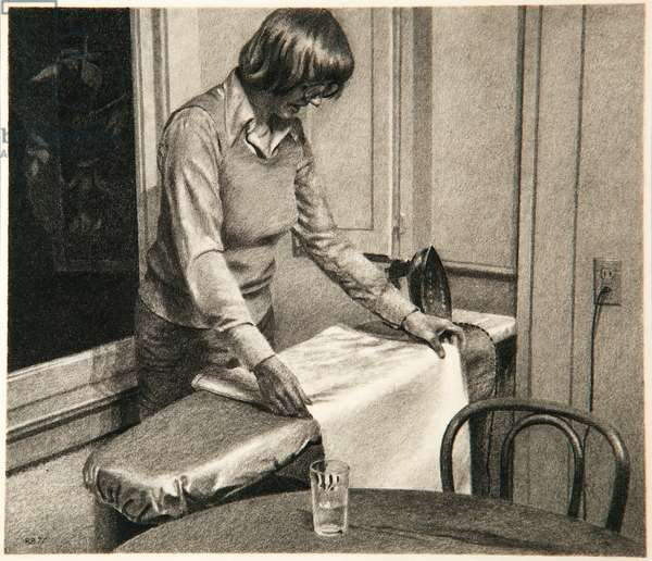 Nancy Ironing, 1977 (graphite on paper)