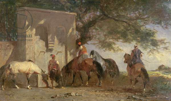 Arabs Watering Their Horses, c.1865-75 (oil on panel)