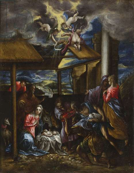 The Adoration of the Shepherds, c.1576-77 (oil on canvas)