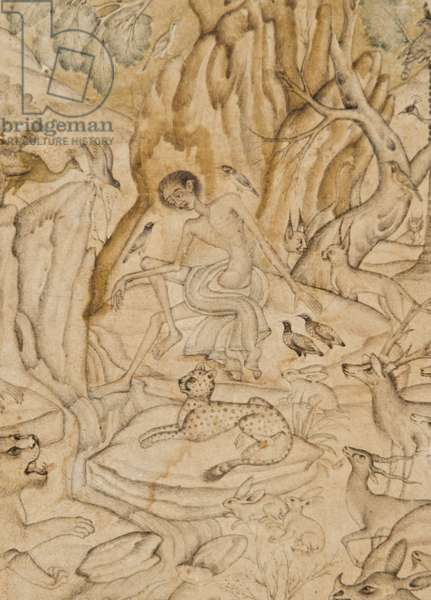 Detail from Majnun in the wilderness, c.1595 (opaque w/c & gold on paper)