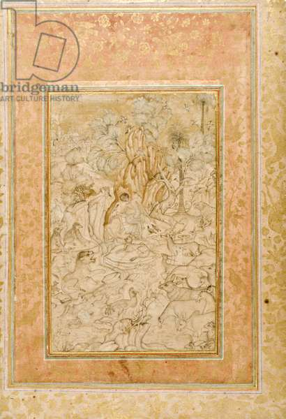 Majnun in the wilderness, c.1595 (opaque w/c & gold on paper)