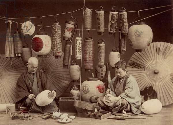 Scene in a Japanese Lantern work Shop (b/w photo) (b/w photo)