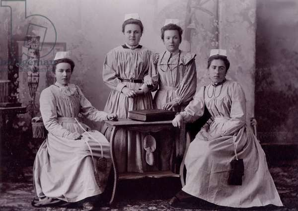 Nurses, c.1890 (b/w photo)