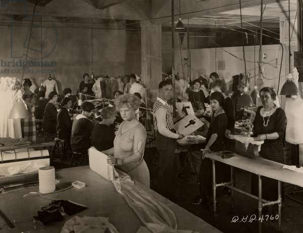Costume department of the Famous Players-Lasky Corporation, 1920 (b/w photo)
