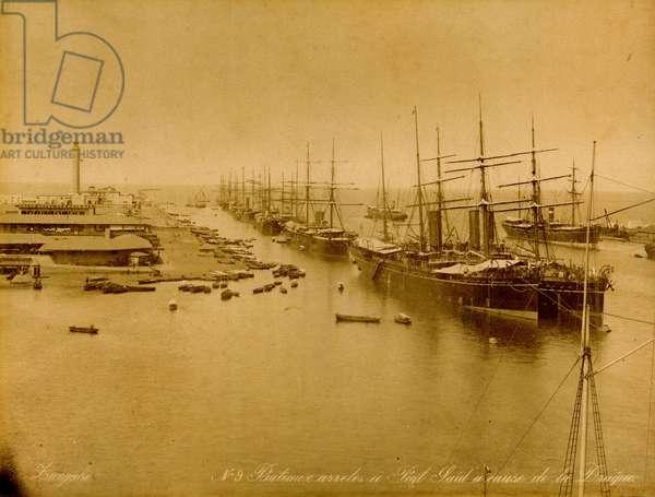 Port-Saïd, Suez canal, Egypt, 1880 (sepia photo)