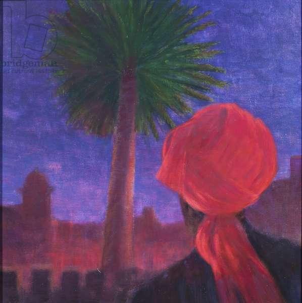 Red Turban, dusk, Jodhpur, 2012 (acrylic on canvas)