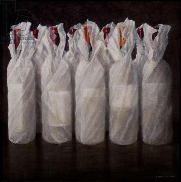 Wrapped Wine Bottles, 2010 (acrylic on canvas)