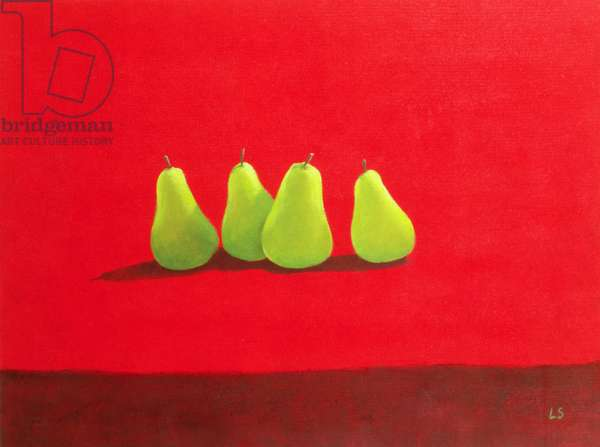 Pears on Red Cloth (oil on canvas)