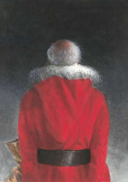 Man in Red Coat (back view), 2004 (oil on board)