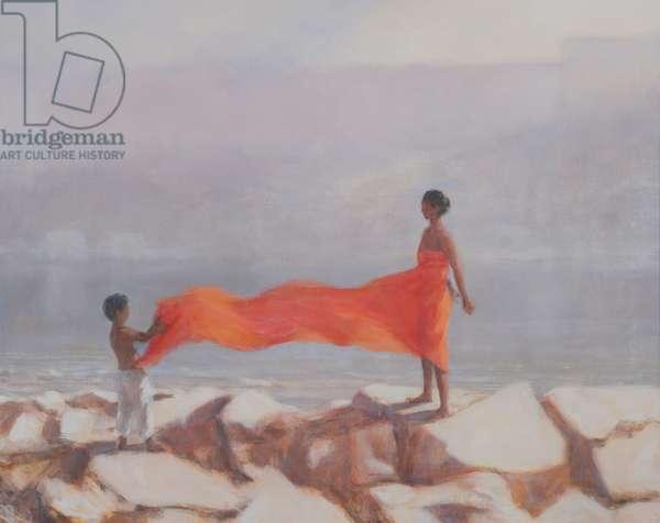 Tying A Sari, India, 2012 (acrylic on canvas)