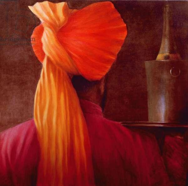 Wine Waiter at the Taj (oil on canvas)