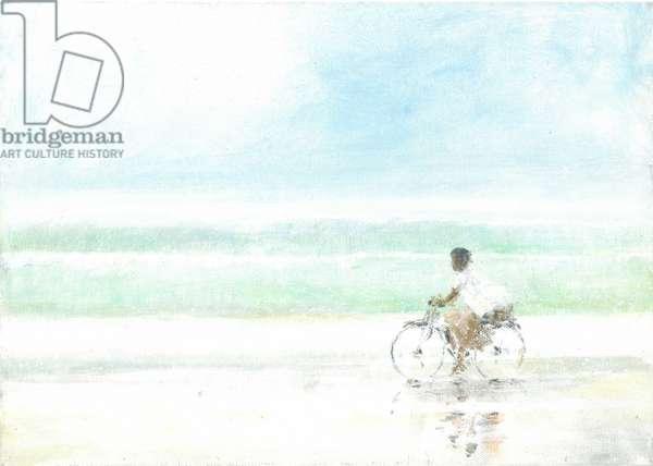 Boy on Bicycle (acrylic on paper)