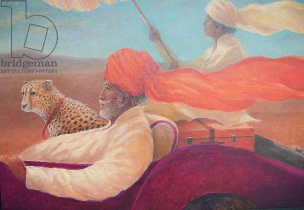 Maharaja, boy with umbrella + cheetah