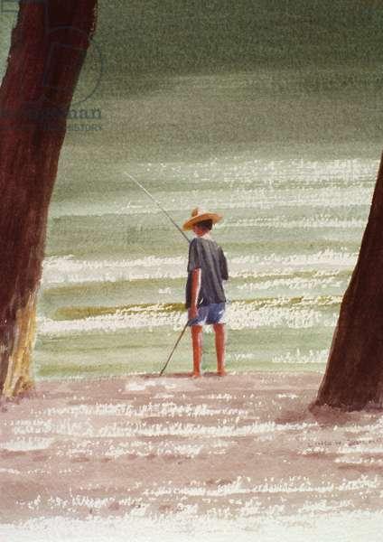 Henry Fishing, 1990 (acrylic on paper)
