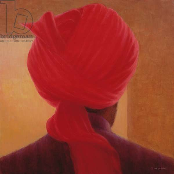 Red Turban on Amber, Deoghar (oil on canvas)