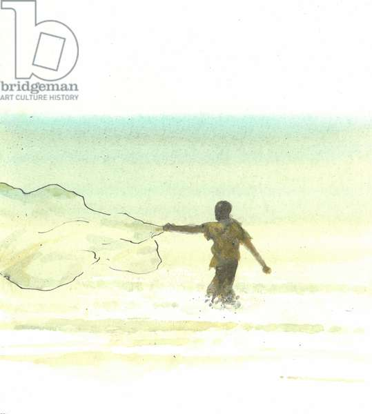 Lone Fisherman 6, 2015 (pen & ink with w/c on paper)
