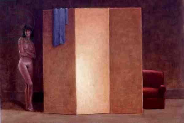 Girl with Gold Screen, 1992 (acrylic on paper) (see 135441)