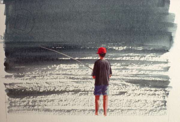 Henry Fishing, Alps, 1990 (acrylic on paper)