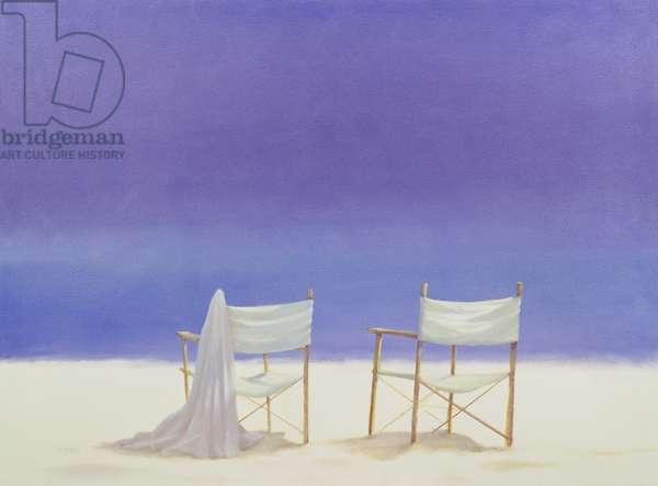 Chairs on the beach, 1995 (acrylic on canvas)