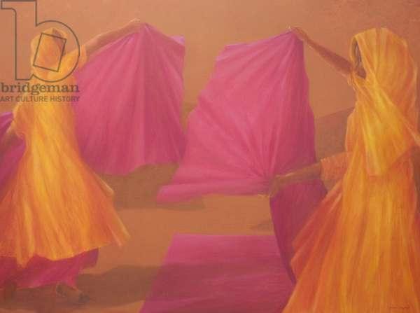 Folding Saris, 2010 (acrylic on canvas)