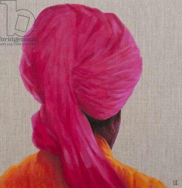 Pink Turban, Orange Jacket, 2014 (oil on canvas)