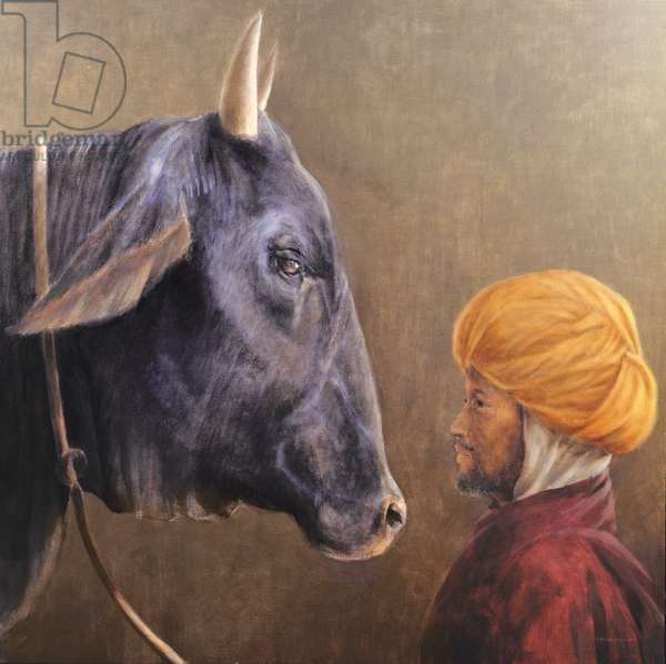 Man and Bull (oil on canvas)