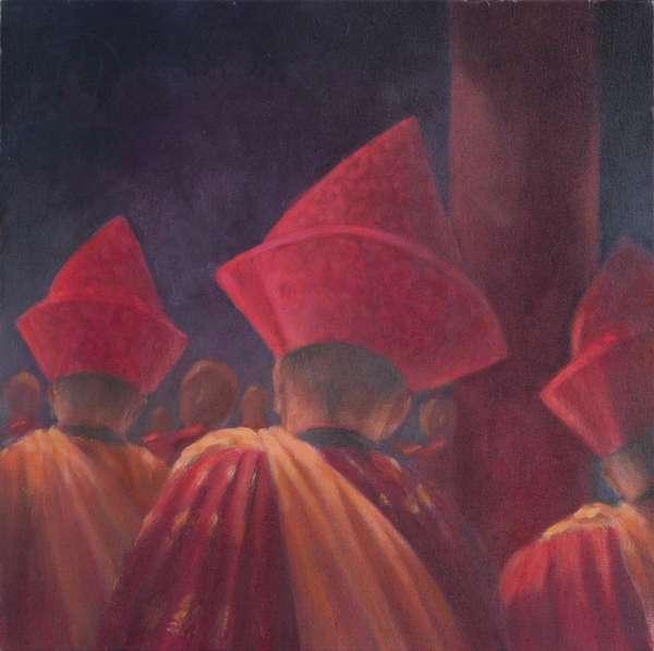 Buddhist Monks, Bhutan, 2012 (acrylic on canvas)