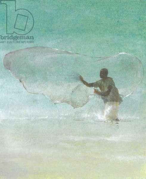 Lone Fisherman 5, 2015 (w/c on paper)