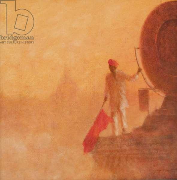 Railway Flag Man, Agra, 2010 (acrylic on canvas)