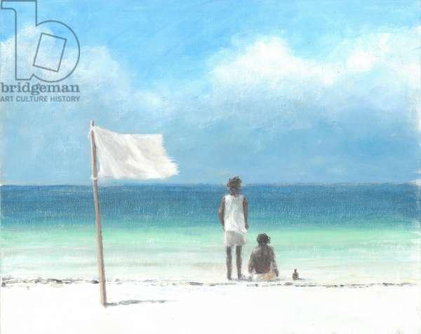 Boys on Beach, Kenya (acrylic on paper)
