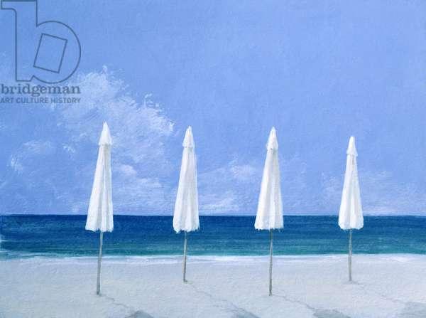 Beach umbrellas, 2005 (acrylic on paper)