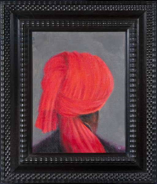 Red Turban on Grey, 2014 (oil on canvas)
