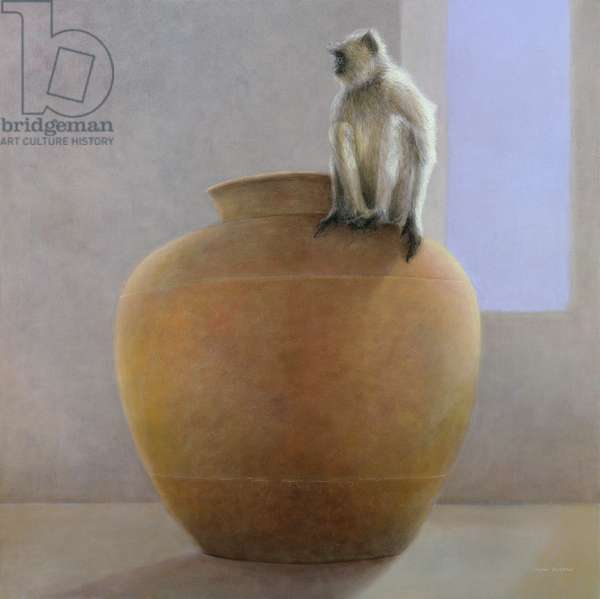 Temple Monkey (oil on canvas)