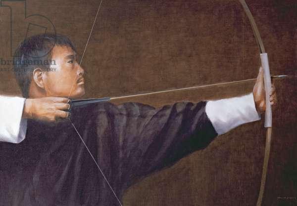 Archer, Bhutan (oil on canvas)