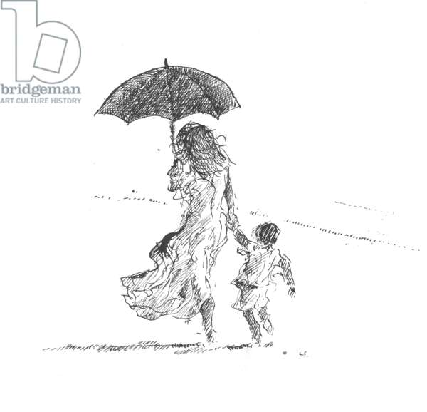 Mother and Child, Sri Lanka (pen & ink on paper)