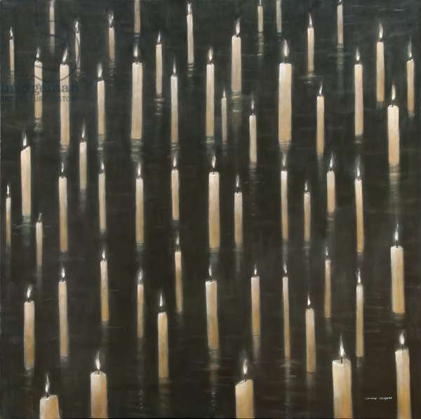 Candles on the Lake, Udaipur, India, 2012 (acrylic on canvas)