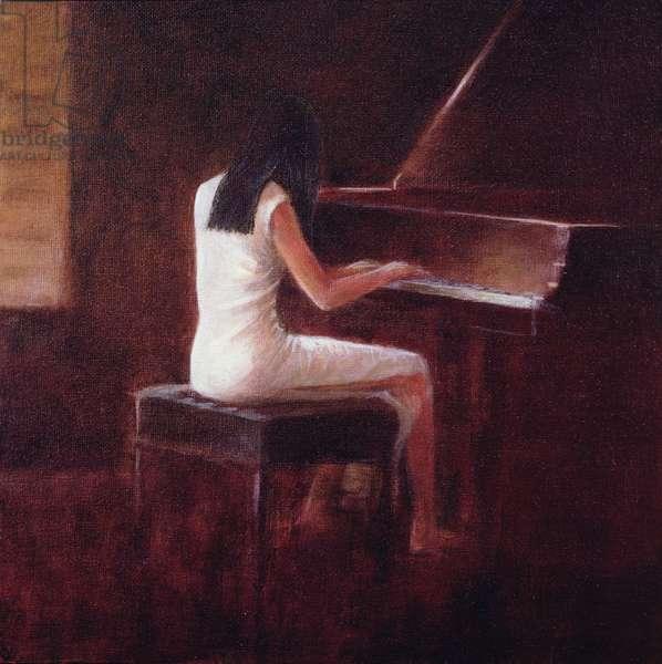 Pianist, Hanoi (oil on canvas)
