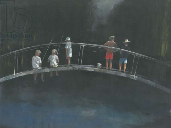 Children fishing (acrylic on paper)