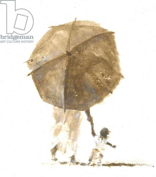 Umbrella & Child 1, 2015 (w/c on paper)