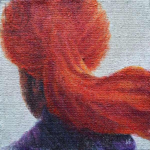 Orange Turban on hessian
