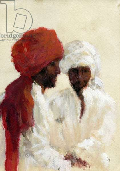 Two Imams (acrylic on paper)