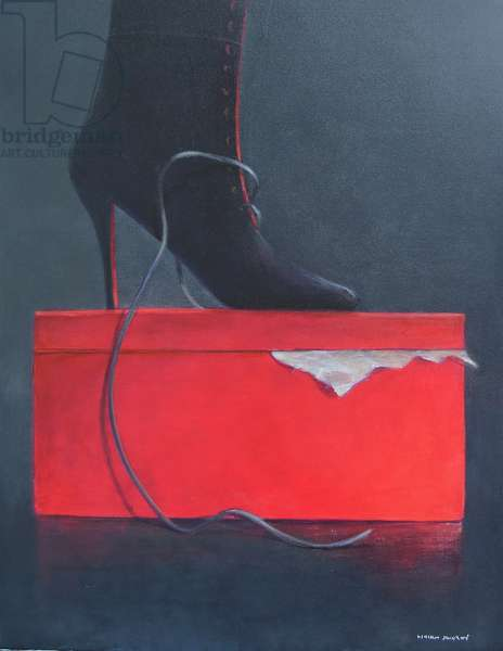 Boot on a red box