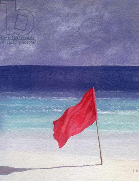 Beach Flag - Storm Warning, 1985 (acrylic on paper)