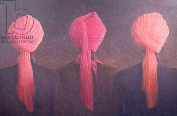 Turban Triptych (oil on canvas)