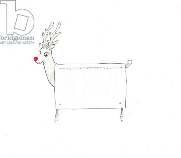Rudolf the Red Nosed Radiator (pen & ink on paper)