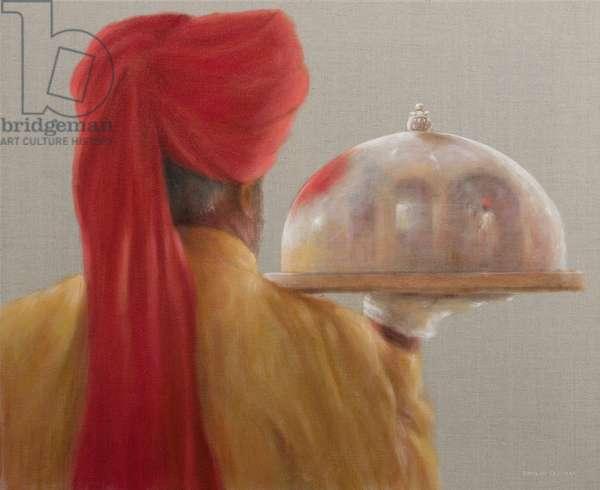 Waiter, Rambagh Palace, 2010 (acrylic on canvas)
