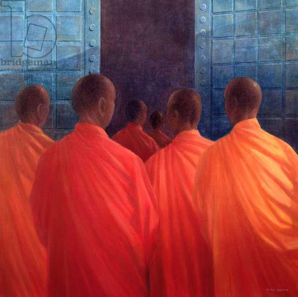 Saffron Monks (oil on canvas)