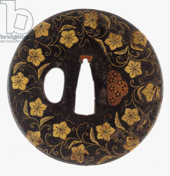 Tsuba: Floral Scrolls, 11th century (Iron, brass, gold, and copper)