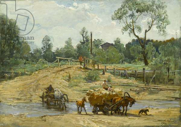 Carts fording a river, 1922 (oil on board)